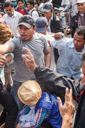 Protesting labor conditions in Cambodia.