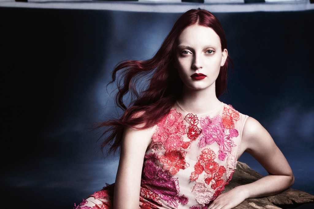 An ad visual from the Monique Lhuillier spring 2014 campaign.