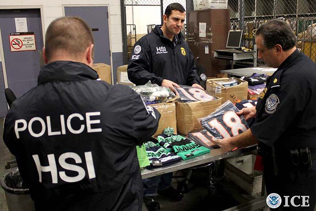 Federal agencies seize more than $21.6 million in fake NFL merchandise during 'Operation Team Player.'