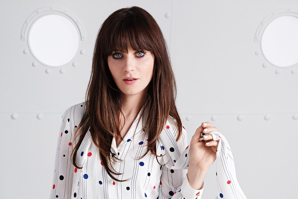 Zooey Deschanel wearing one of her designs with Tommy Hilfiger.