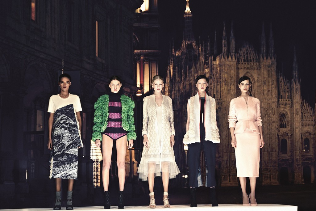 The winning garments of the five finalists, who are ffiXXed for Asia; Sibling for Europe; Rahul Mishra for India and Middle East; Christopher Esber for Australia, and Altuzarra for the U.S.