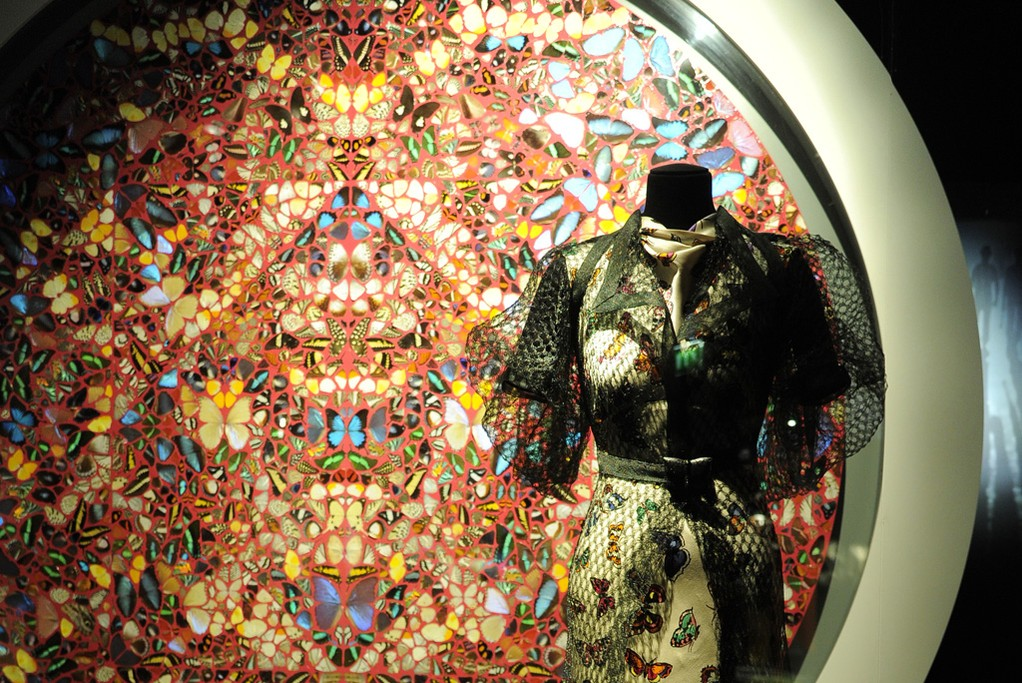 A Damien Hirst butterfly painting and a 1937 ensemble by Elsa Schiaparelli.