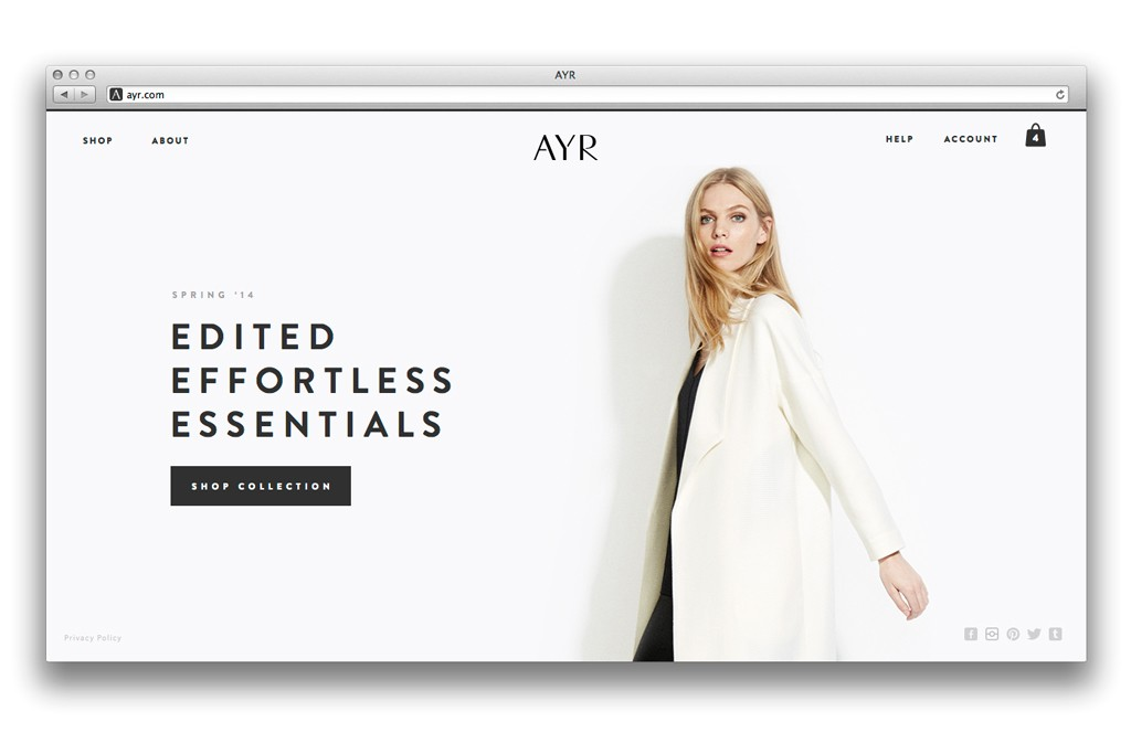A page from the Ayr Web site.