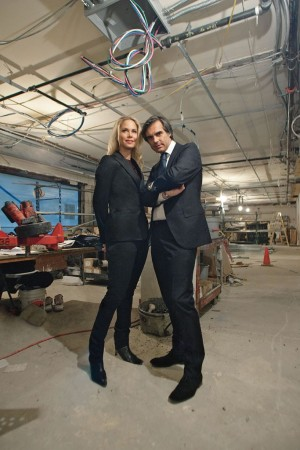 Suelyn and Julien Farel photographed in their soon-to-be finished salon.