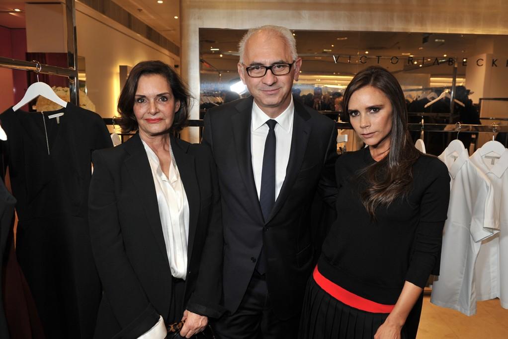 Printemps' Maria Luisa Poumaillou and Paolo de Cesare with Victoria Beckham.