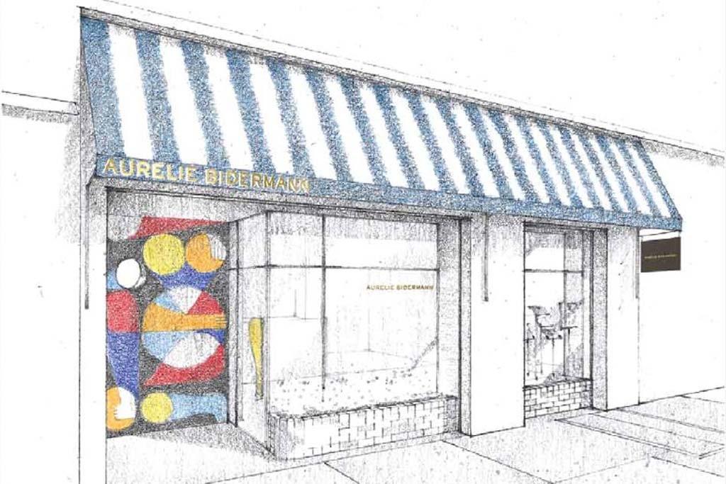 A drawing of Aurélie Bidermann's New York boutique