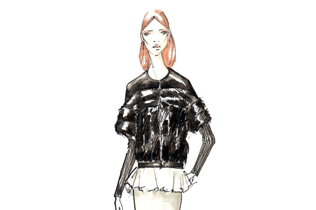 A sketch from Bibhu Mohapatra featuring Blackglama mink.