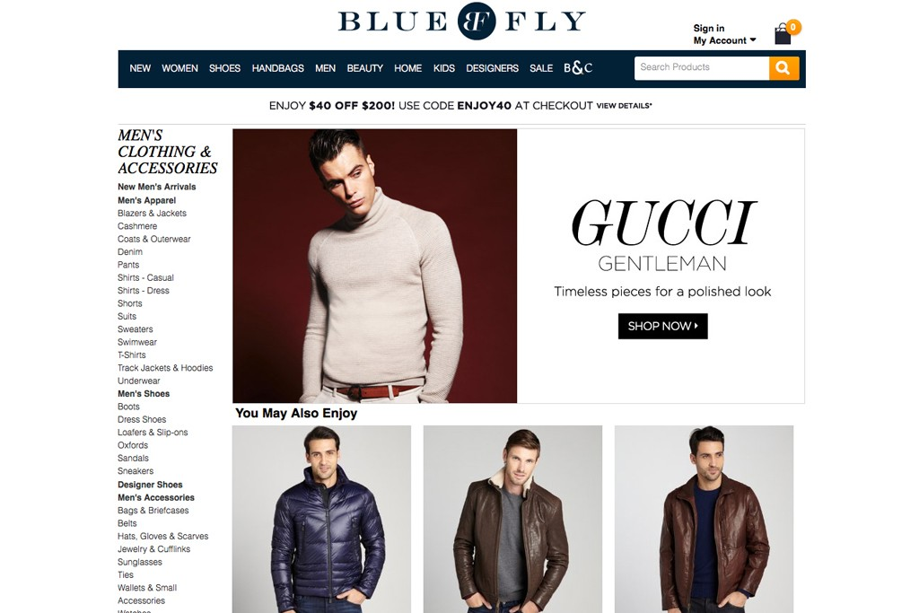 The Bluefly homepage.
