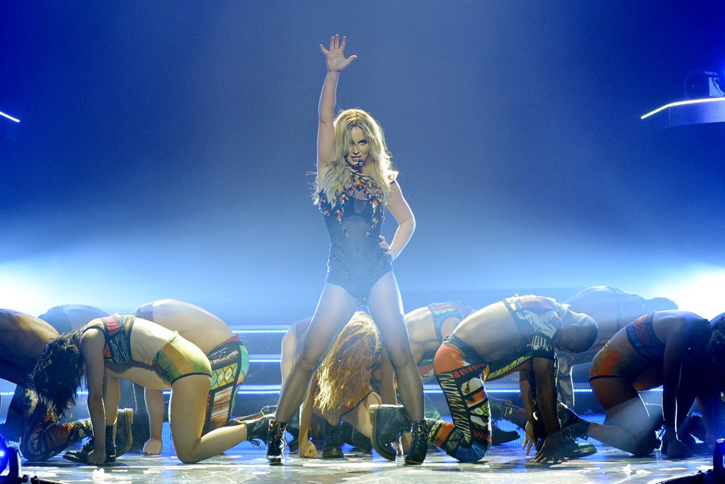 Britney Spears changes into eight different costumes during her show.
