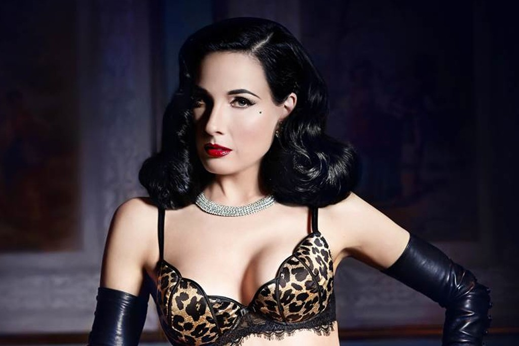 Dita Von Teese models lingerie from the Tulip group.