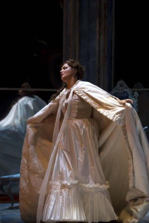 Anna Netrebko wearing the cape created by Fendi.