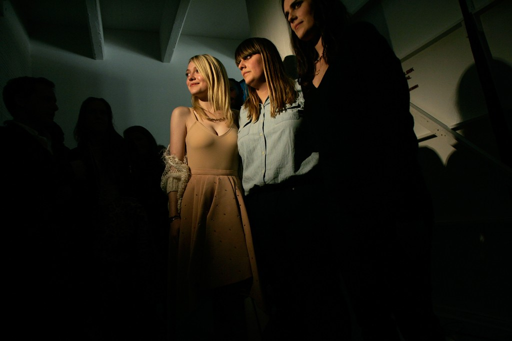 Dakota Fanning with Kate and Laura Mulleavy.
