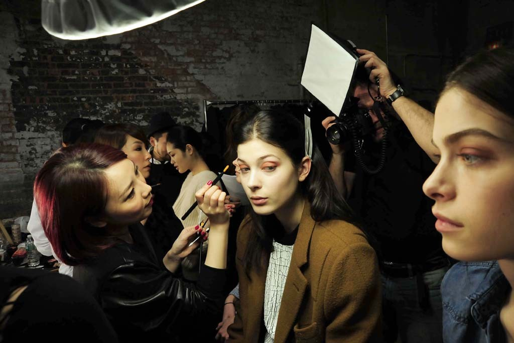 Backstage at Helmut Lang RTW Fall 2014