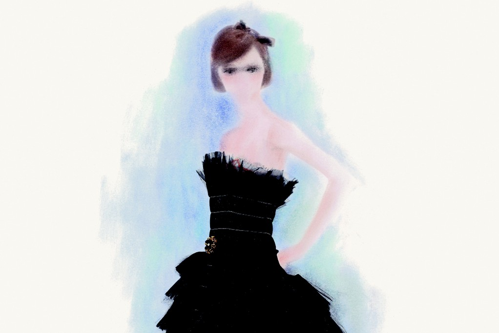 A hand-colored sketch of a Chanel look by Karl Lagerfeld.
