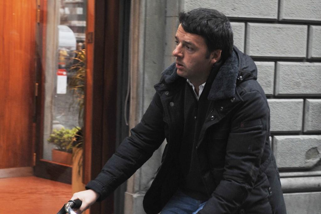Matteo Renzi on his bicycle in Florence.