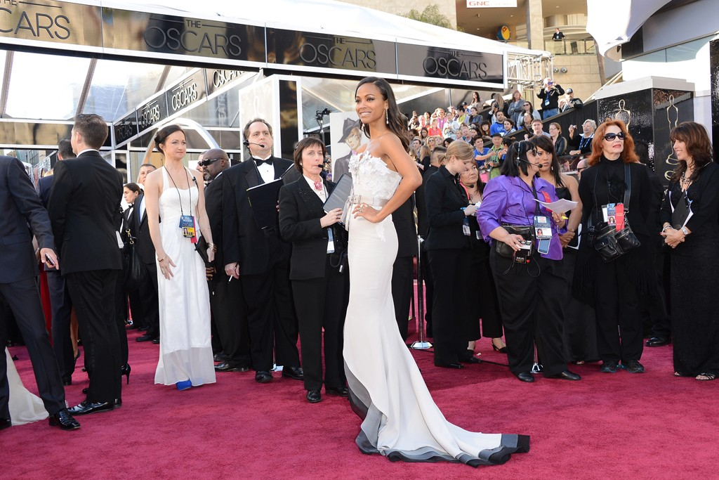Zoe Saldana in Alexis Mabille and Neil Lane at the 2013 Academy Awards.