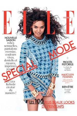 Liya Kebede wearing Balmain on the cover of Elle France.