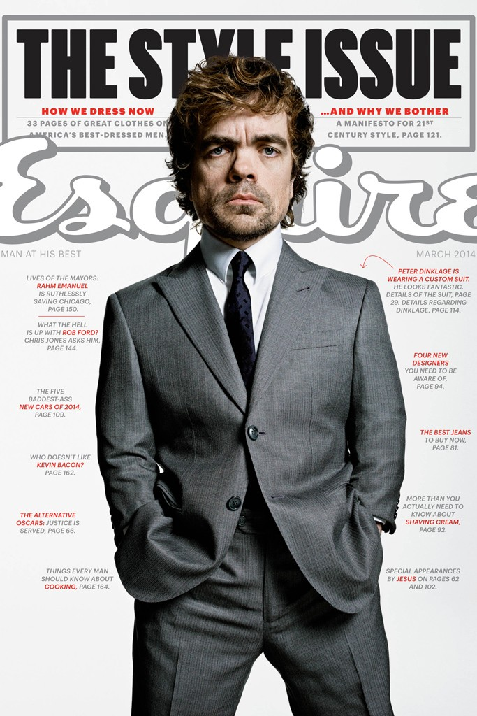 Peter Dinklage on the cover of Esquire's spring style issue wearing Armani.