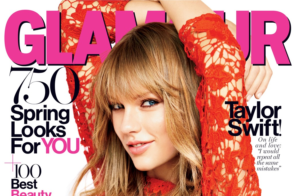 Glamour's March cover featuring Taylor Swift.