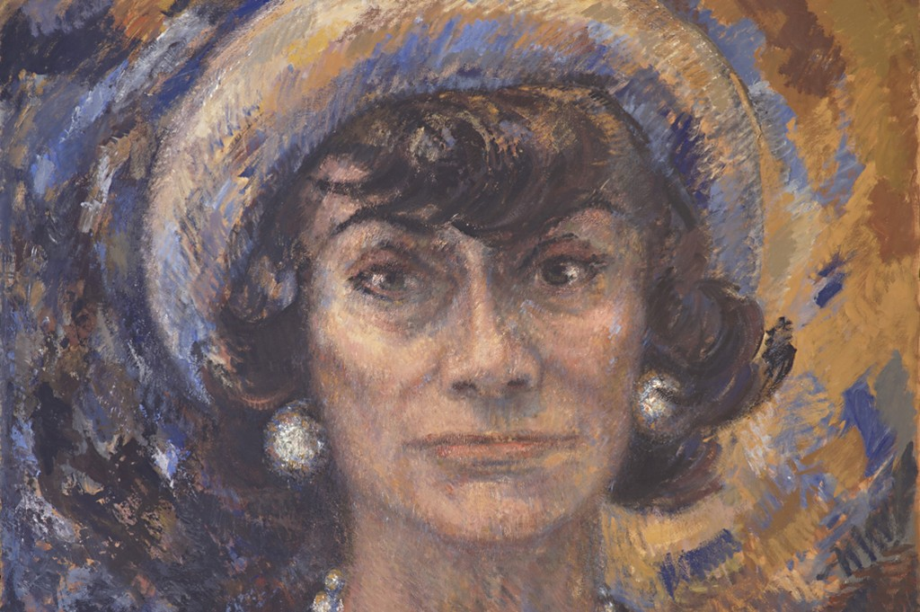 """A piece from the """"Coco Chanel: A New Portrait Painted By Marion Pike, Paris, 1967-71"""" exhibit at the Palazzo Morando in Milan."""