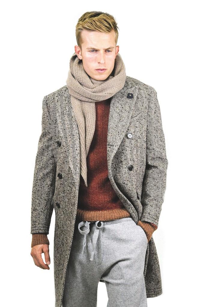 Lardini's wool coat, Billy Reid's alpaca sweater and Crossley's wool and nylon sweatpants. Quinn Scarf.