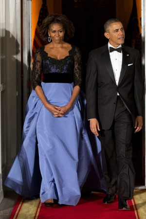 Michelle Obama, in Carolina Herrera, with the President at the State Dinner.