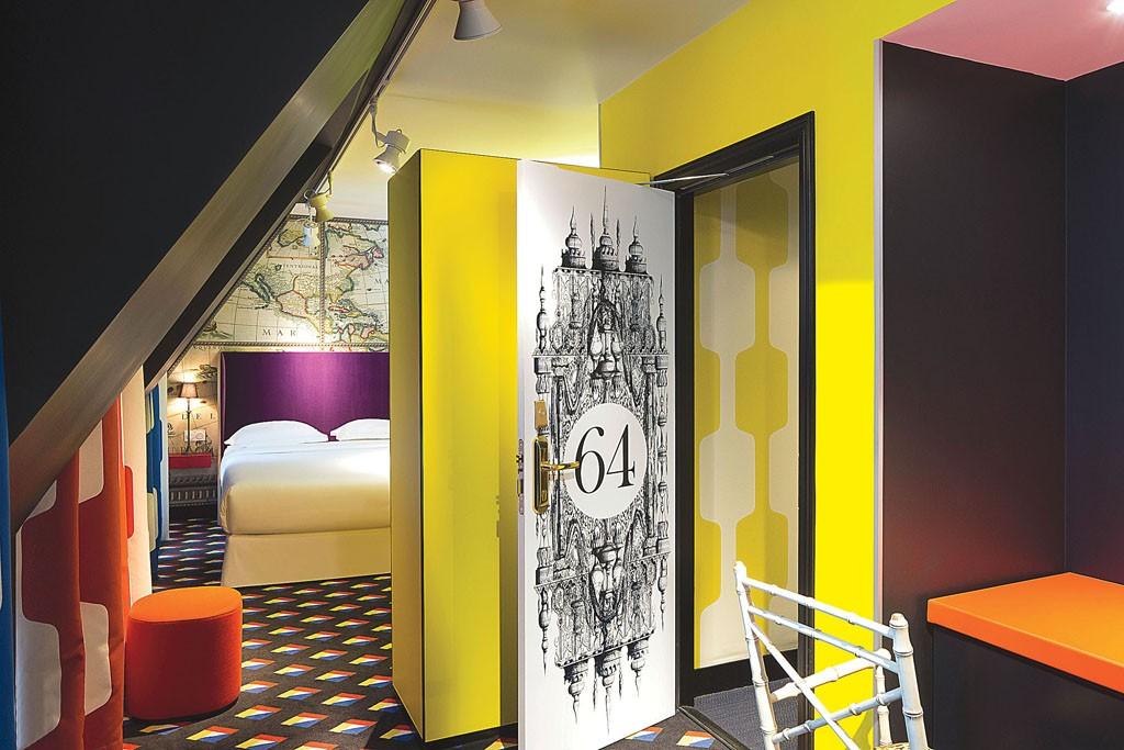 A room at Hôtel du Continent, designed by Christian Lacroix.