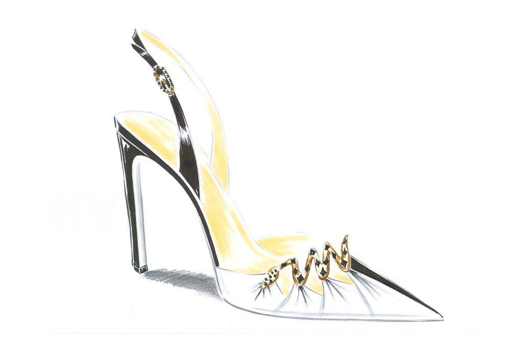 A sketch from Rene Caovilla's capsule collection for Bergdorf Goodman.