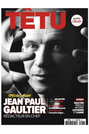 Jean Paul Gaultier on the cover of the March issue of Têtu magazine.