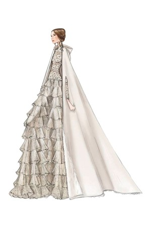 A sketch of the Valentino Haute Couture gown worn by Tatiana Santo Domingo on Saturday.