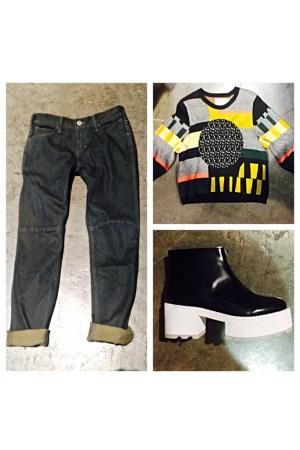 Skargorn's jeans; Henrik Vibskov's sweater, Cheap Monday's boot