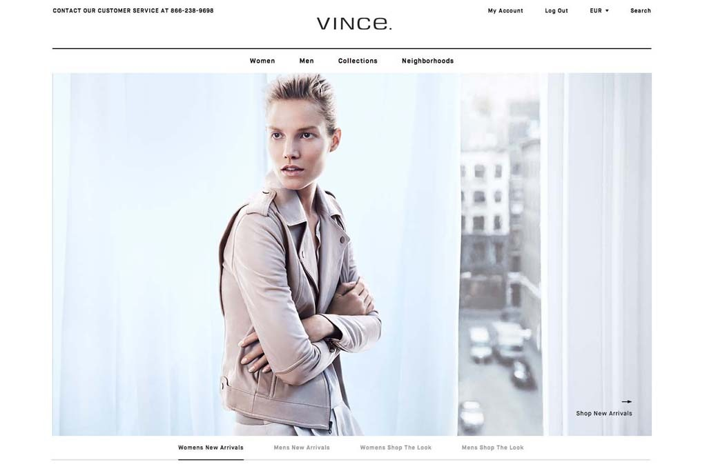The new Vince website.