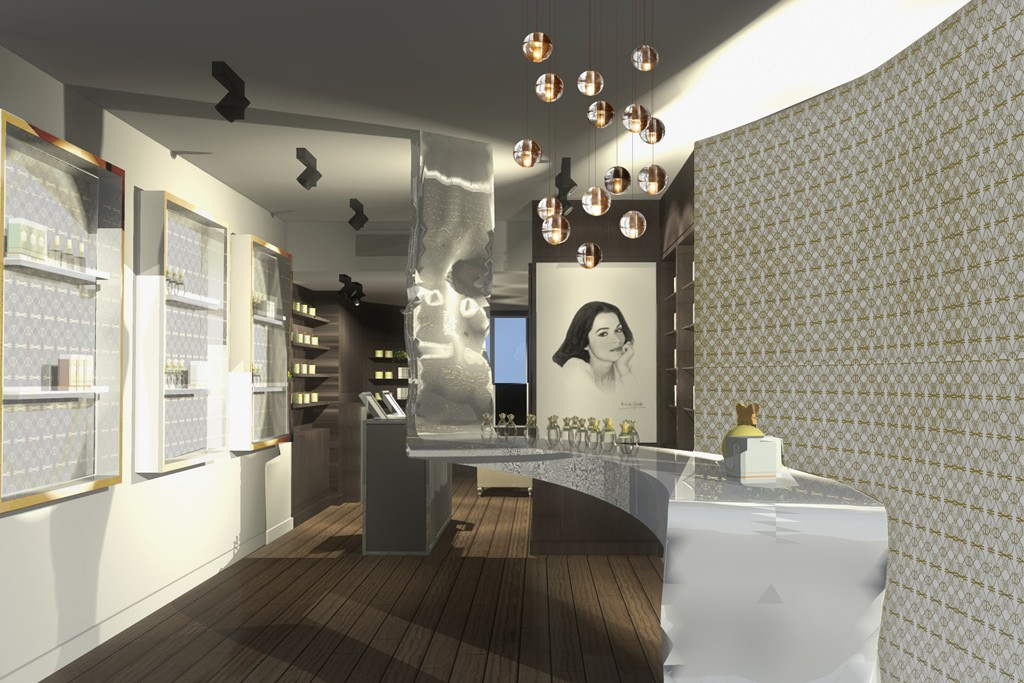 A rendering of the Annick Goutal store on Bleecker Street in New York.