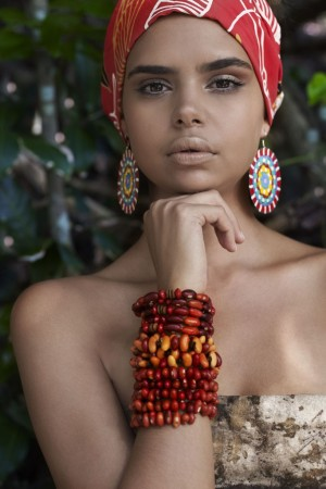 A look with pieces from various indigenous Australian designers participating in Australian Indigenous Fashion Week.