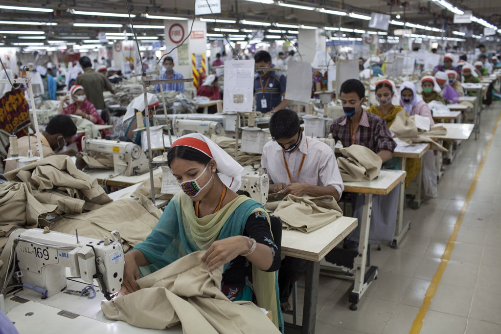Garment workers at Sparrow Apparels Limited garment factory in the Gazipur area of Dhaka, Bangladesh.