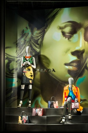 Bergdorf's window for Prada marries fashion and art.