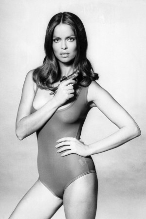 """Barbara Bach in 1977, promoting the James Bond film, """"The Spy Who Loved Me."""""""