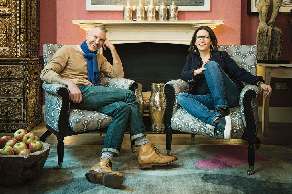 Bobbi Brown and Ed Burstell photographed in the Drawing Room at the Crosby Street Hotel.