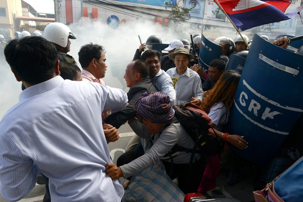 Protests in Cambodia this year have turned violent.