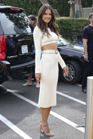 Alessandra Ambrosio donned a sexy and lean Calvin Klein Collection look from resort.