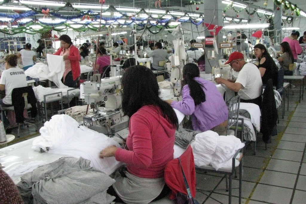 Apparel is assembled in Lives production room in Lima, Peru.