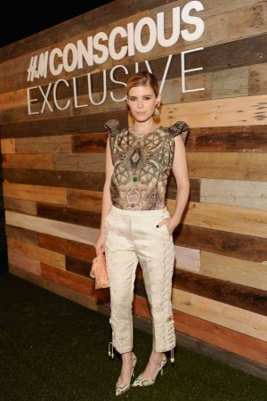 Kate Mara in an H&M ruffled sleeved Conscious Exclusive Blouse.