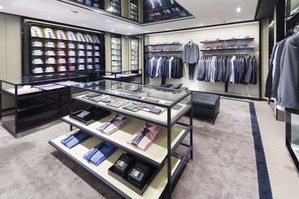Inside the new Boss store in Hong Kong.