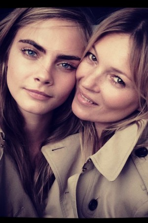 A behind-the-scenes image of Cara Delevingne and Kate Moss released by Burberry on Instagram.