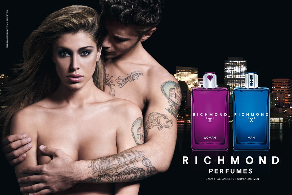 An image from the Richmond X Woman and Richmond X Man fragrances campaign.