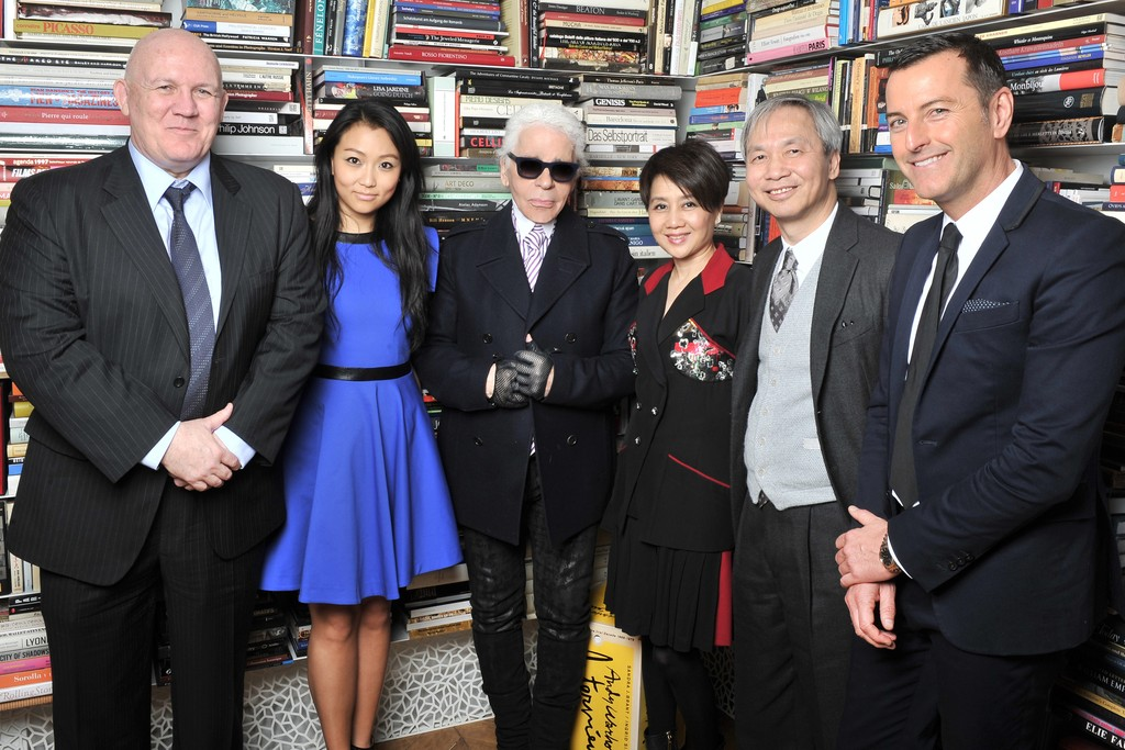 From left to right: Frank McFadden, Veronica Chou, Karl Lagerfeld, Angela Leong, Louis Ng and Pier Paolo Righi.