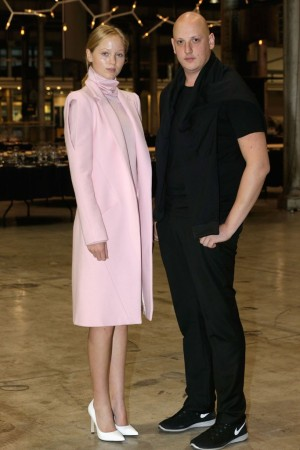 Michael Lo Sordo with a model in his winning collection.
