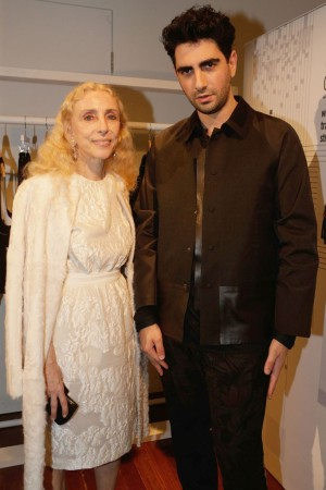 L'Uomo Vogue Editor in Chief Franca Sozzani and designer Christopher Esber.