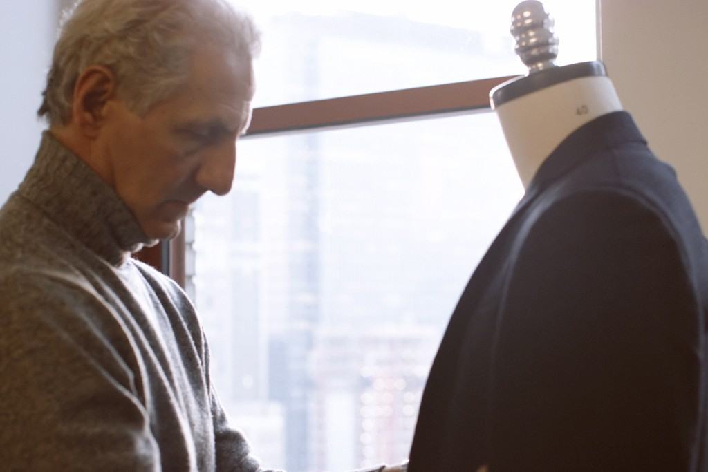 A still from the Joseph Abboud/Men's Wearhouse TV commercial.