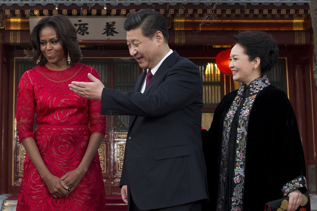 Michelle Obama with Chinese President Xi Jinping and his wife Peng Liyuan.